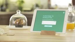 ipad-com-um-formulário-de-contacto-para-recolher-emails-para-a-newsletter